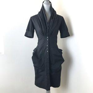 All Saints Black Formal Kitty Shirt Dress Poplin 8